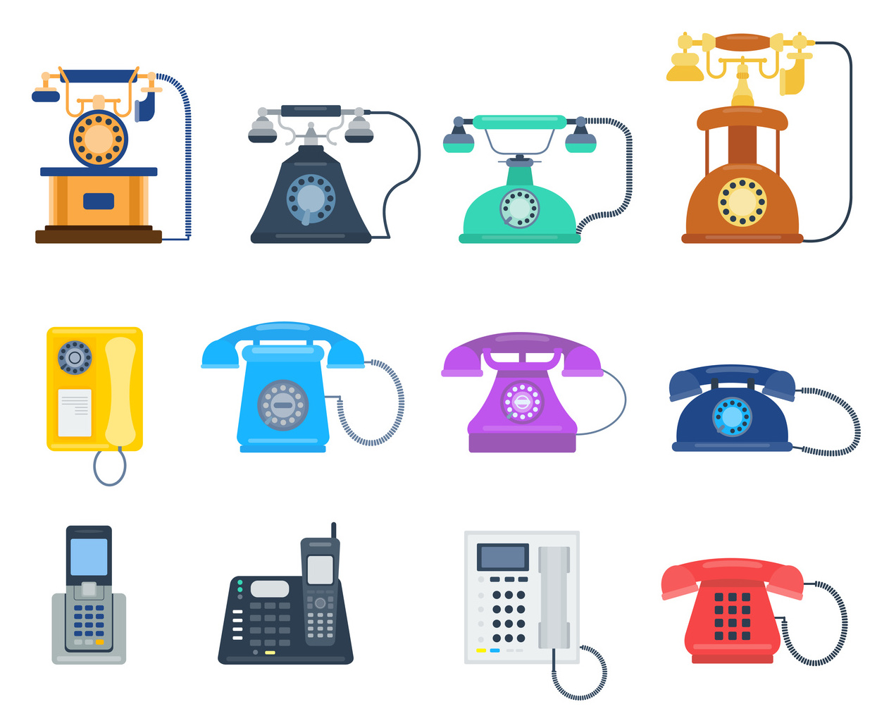 Telephones icons device vector