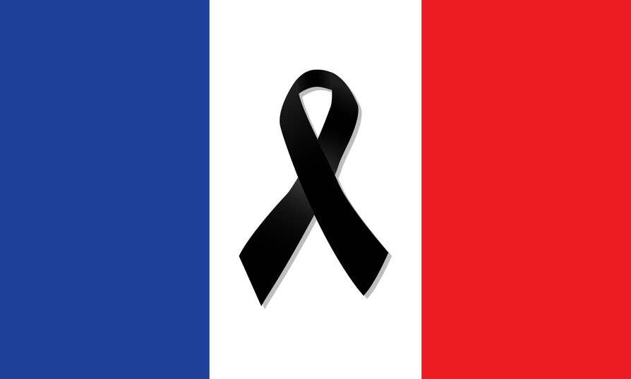 France flag with black ribbon vector