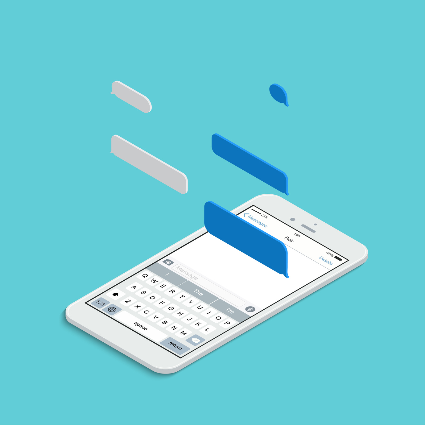 Vector modern isometric smartphone with bubble speech on blue background